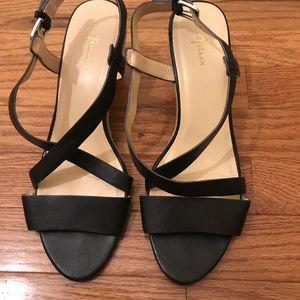 Cole Haan black strapy wedge sandals EUC Size 9.5
